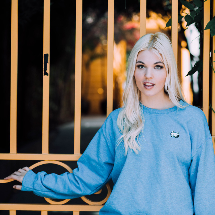 Heather Blue Embroidered Klondike Sweater